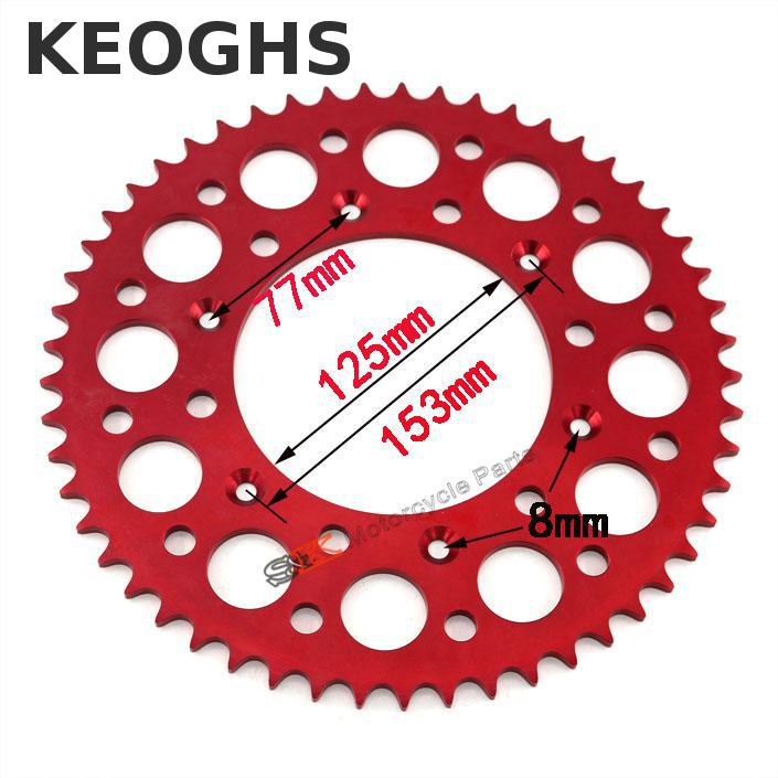 Keoghs High Quality Dirt Bike Chain Sprocket 7075 Cnc Aluminum 49t/52t/53t Light Weight For Honda Kawasaki Ktm Motocross Modify dwcx motorcycle adjustable chain tensioner bolt on roller motocross for harley honda dirt street bike atv banshee suzuki chopper