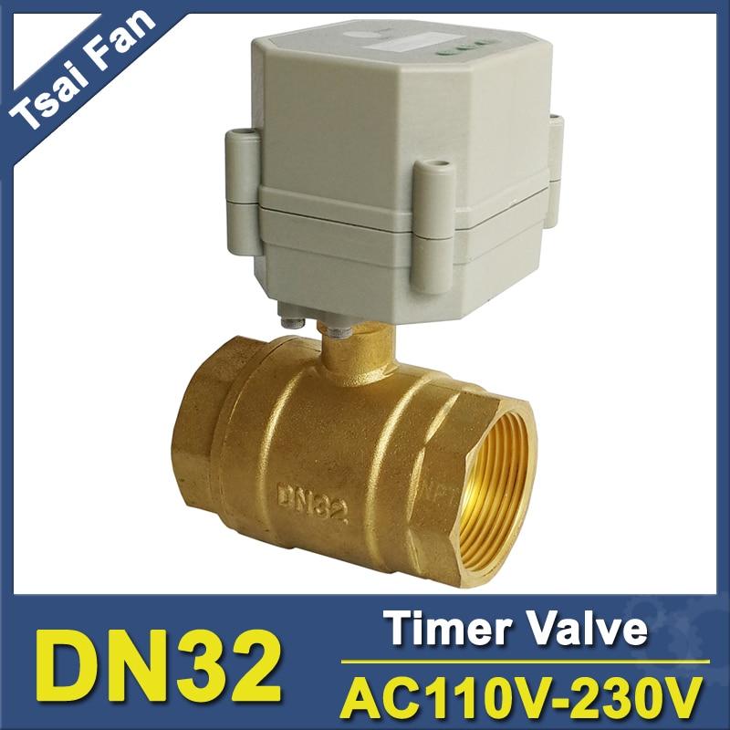 AC110V-230V 1-1/4'' motorized valve time control valve 32mm brass BSP or NPT thread for water air compressor Drain water Pump manual control valve f64b for water softener