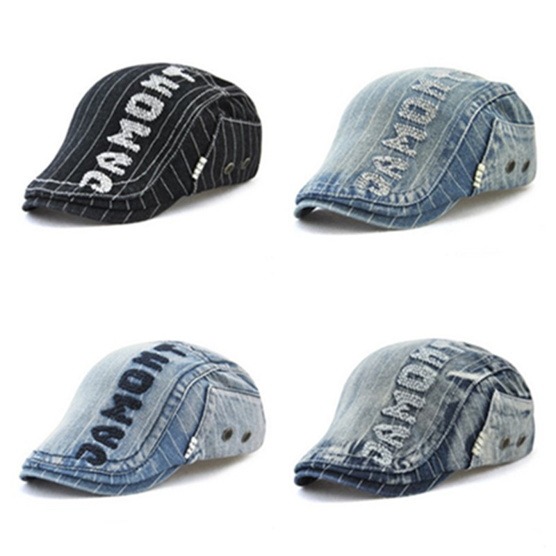 XdanqinX Denim Cotton Hat Men 39 s Fashion Berets Adjustable Size Letter Embroidery Hats Women 39 s Ponytail Personality Hip Hop Cap in Men 39 s Berets from Apparel Accessories