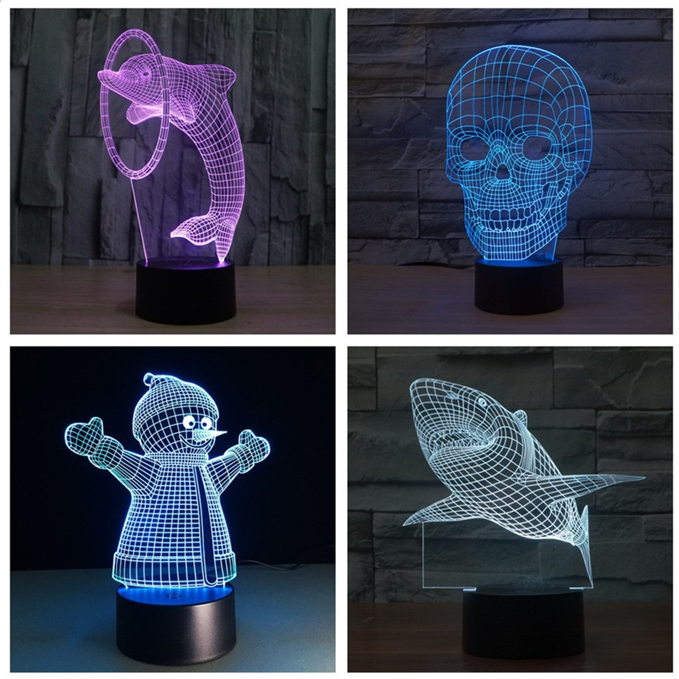 2018 USB Night Light 3D Visual illusion lamp Children New Year Gifts Table Light Skull Guitar Snowman Color Change LED lights