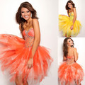 A-line Sweetheart Mini Length Organza Sexy Cocktail Dresses