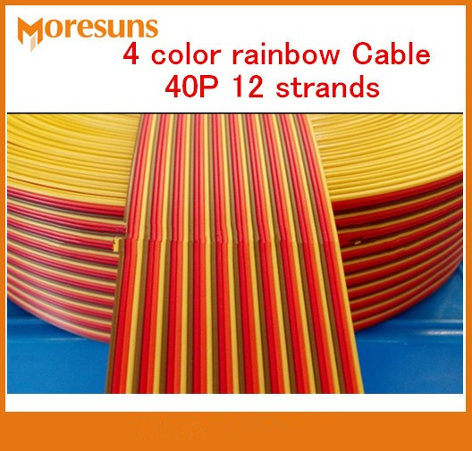 Free Ship By EMS/DHL 50m/lot 4 Color Rainbow Cable 40P 12 Strands Copper Wire,outer Diameter 1.4MM Pure Connector Wire