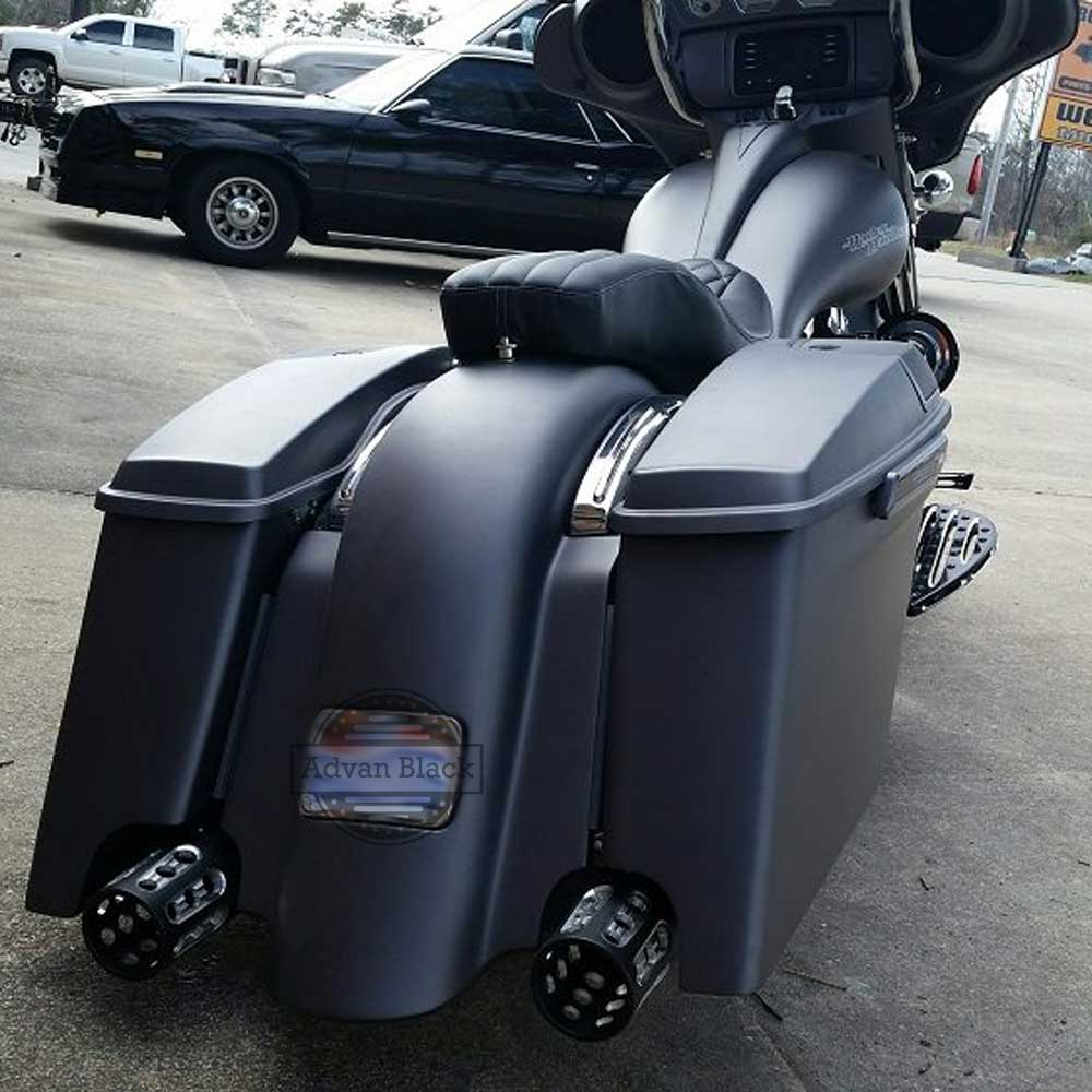 Advan Black Denim 4 5 Stretched Extended Saddlebags For Harley Electra Street Road Glide Flhr 2017 In Covers Ornamental Mouldings