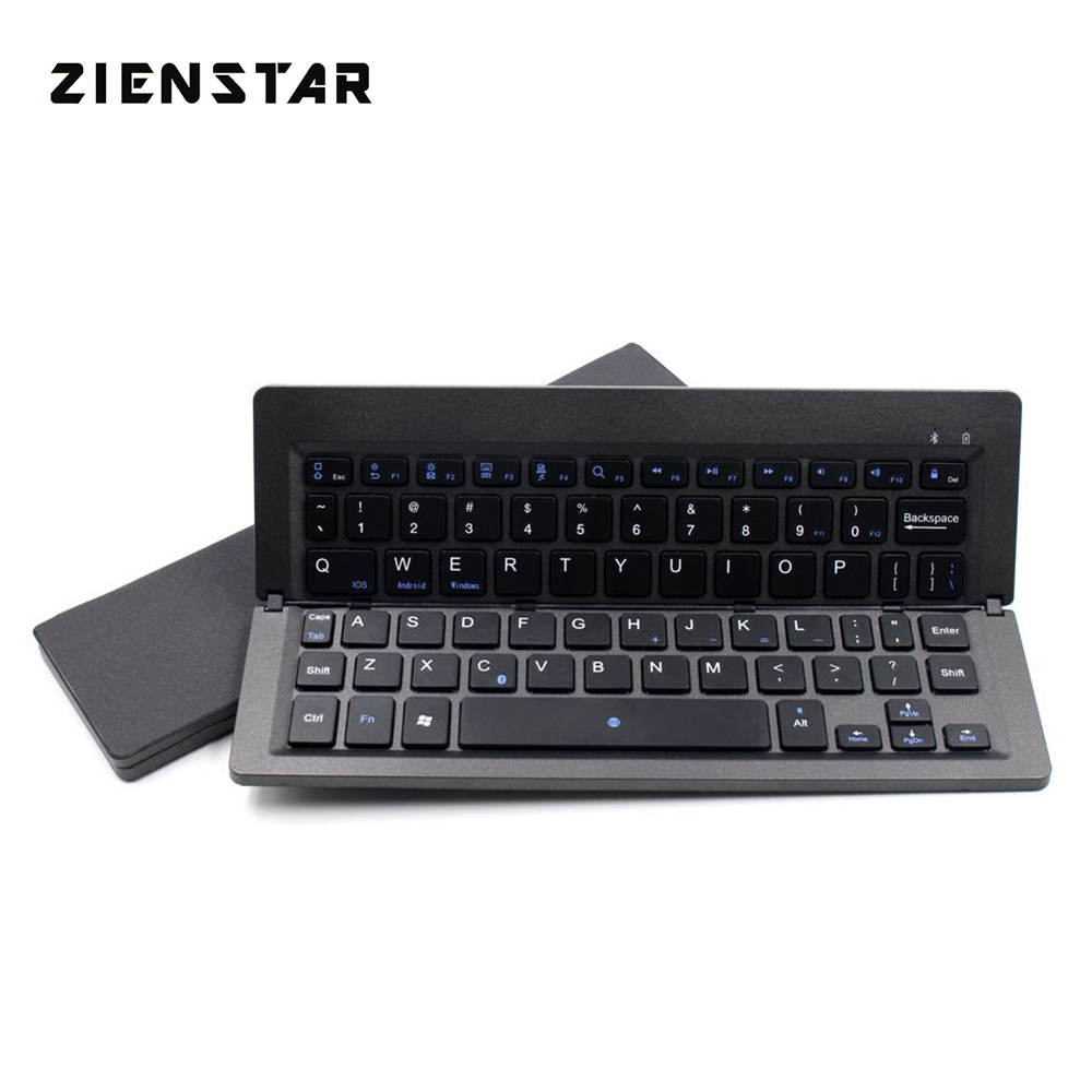 все цены на Zienstar Foldable Bluetooth Keyboard, Ultra Slim Folding Mini Keyboard Rechargeable for iOS iPad Android Windows Tablet онлайн