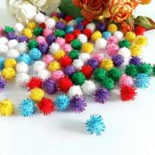 200-150Pcs 10mm/15mm Gold Thread Fluffy Craft Pompom Balls Polyester DIY Party Wedding Decor for Supplies