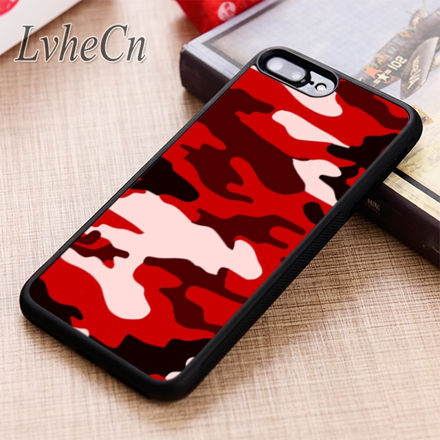 timeless design c6ae2 e28fa US $2.99 25% OFF LvheCn Red Army Camo phone Case cover For iPhone 6 6S 7 8  X XR XS max 5 5S SE Samsung Galaxy S5 S6 S7 edge S8 S9 Plus-in Fitted Cases  ...
