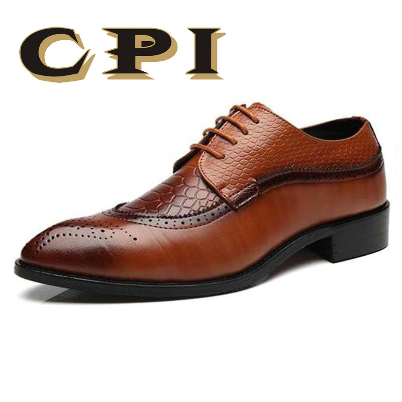 Size 47 48 Fashion PU Leather Men Dress Shoes Pointed Toe Bullock Oxfords Shoes For Men, Lace Up Designer Luxury Men Shoes ZY-31 qffaz new fashion mens formal dress shoes pointed toe genuine leather bullock oxfords shoes lace up designer luxury men shoes