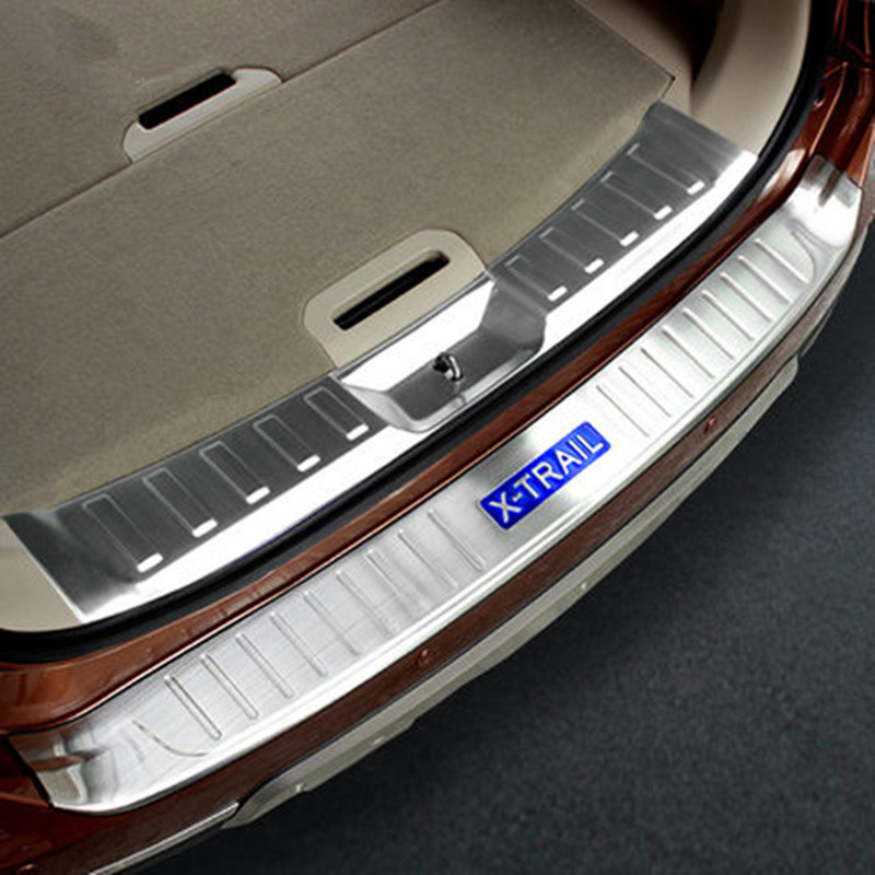 For Nissan X-Trail X Trail 2014-2016 Rogue Stainless Steel Rear Bumper Protector Sill Trunk Guard Cover Trim Car Accessories