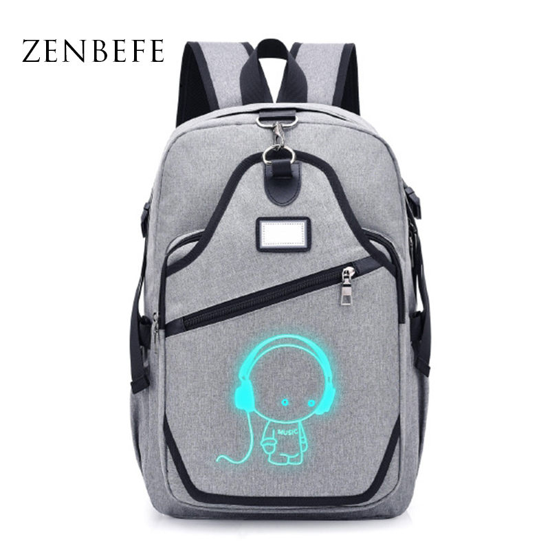 ZENBEFE New Student School Backpack Anime Luminous USB Charging Laptop Backpack For Teenager Anti-theft Boys School Bag Bookbags new anime one piece skull monkey d luffy backpack bag anti theft school rucksack student book bag cosplay for 14 inch laptop
