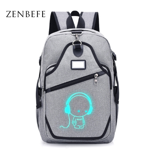 85e43d3ae326 ZENBEFE New Student School Backpack Anime Luminous USB Charging Laptop  Backpack For Teenager Anti theft Boys School Bag Bookbags-in Backpacks from  ...