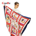 Large Twill Silk Women Scarf 130*130 cm Euro Geometric Horse Carriage Print Square Scarves High Quality Gift Fashion Silk Shawls