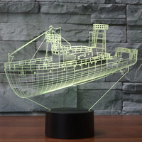 3D Visual Cool Cargo Ship LED Night Light 7 Colors Changing Acrylic Boat Table Lamp USB Sleep Lighting Children Gifts Home Decor
