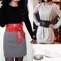 6 Cores Mulheres Elegante PU Cintos Cós Largo de Couro Wrap Em Torno do Laço do Espartilho Cinch