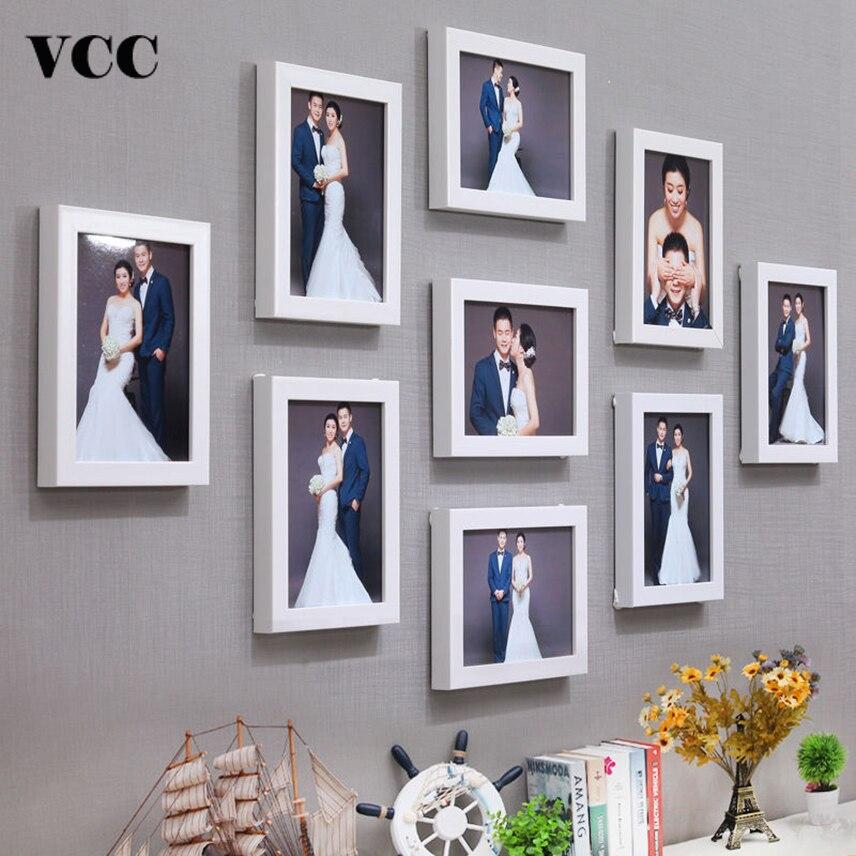 9 pièces Cadre Photo Classique Pour Tenture Murale Décor À La Maison 10 Pouces Mariage Couple Recommandation Noir Blanc Photos Cadres Cadeau