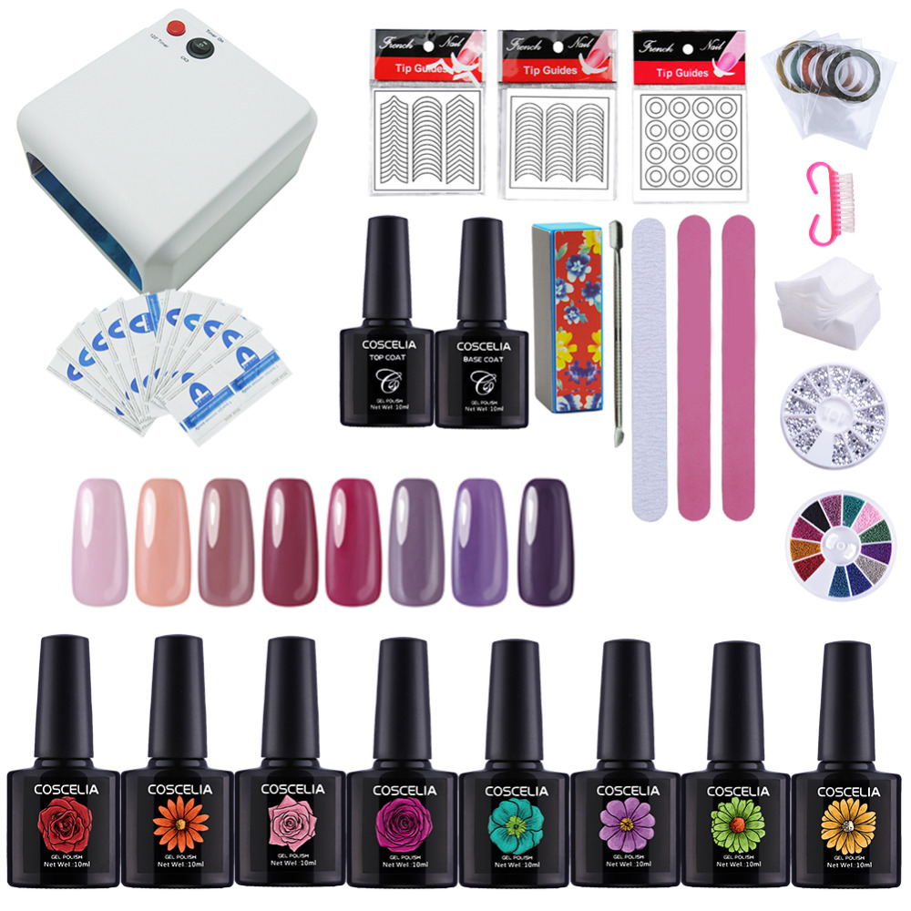 Nail Art Set Lamp For Nail 8 PC Gel Nail Polish Set Nail Tools Gel Varnish Lacquer Manicure Tools Set For Manicure Gel polish patrisa nail дегидратор nail prep 8 мл