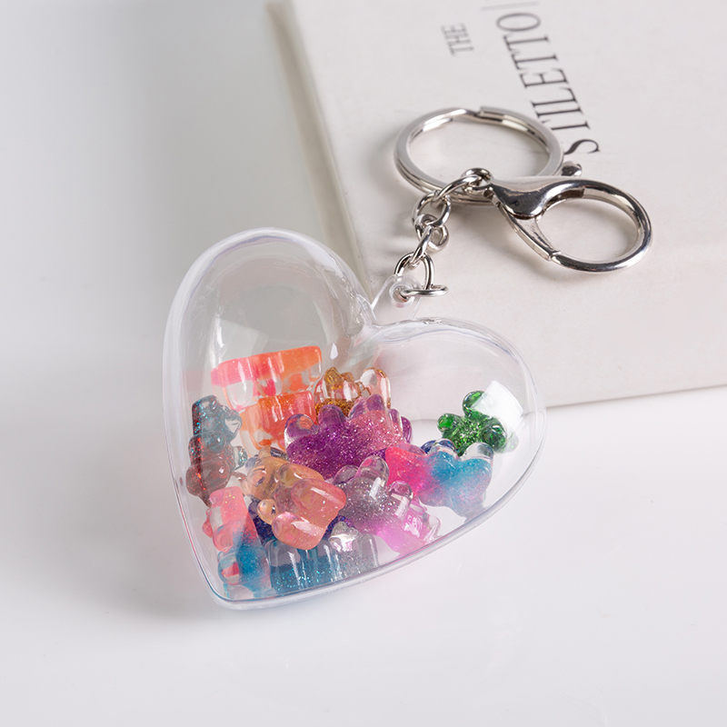 1PC Stereoscopic Keychain Resin Gummy Bear Charms Resin Handbag Keyring For Woman Car Pendants Cute Jewelry