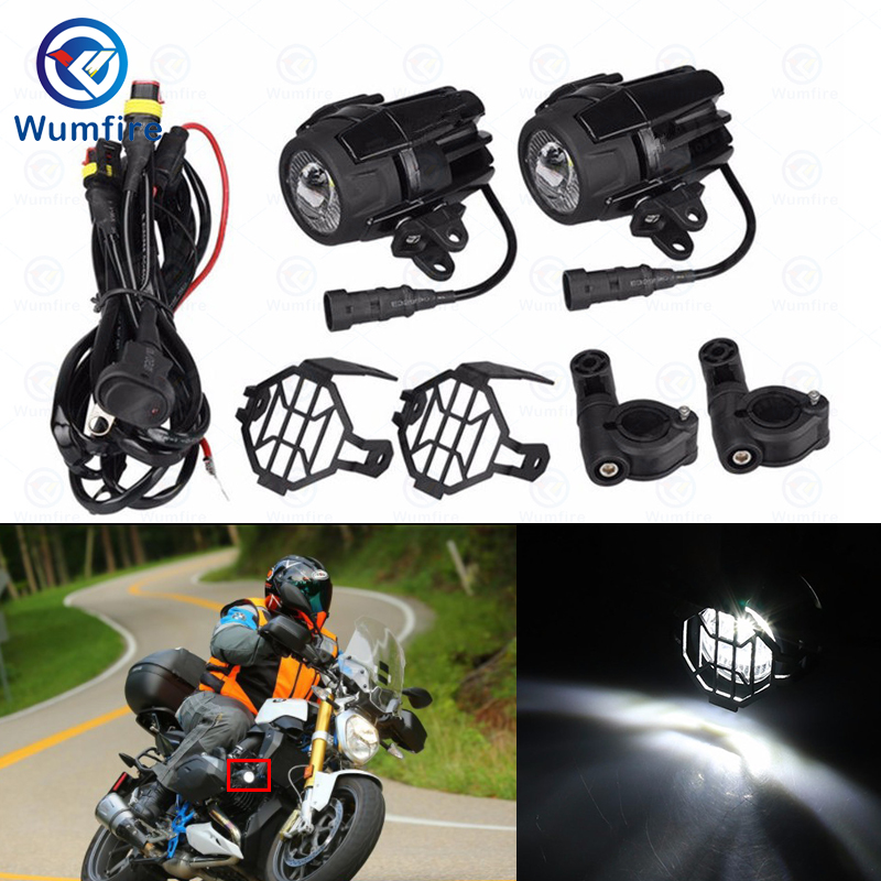 Moto Motorcycle 40W Universal LED Auxiliary Fog Lamp Lights Assembly for BMW R1200GS F800GS Versys KTM Driving Headlight