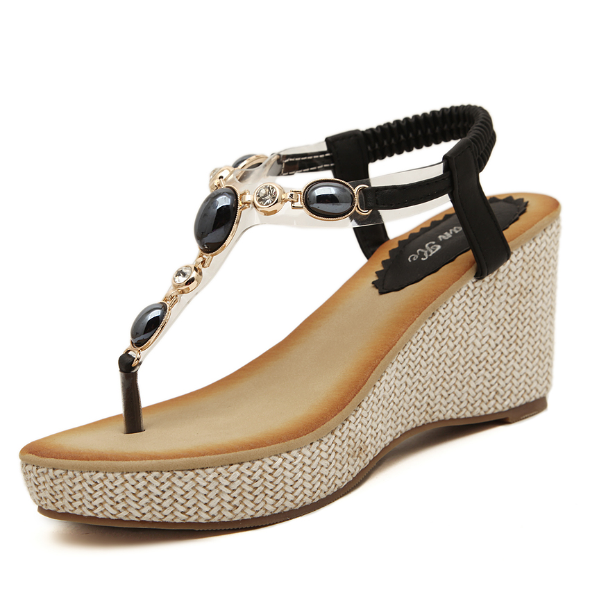 74ca61a49eff28 GOXPACER 2016 New Sweet Women Shoes fashion wedges shoes Beading Women  Sandals back strap shoes women plus size 35-40