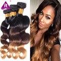 8А Перуанский объемной волны волос девственницы 4 пучки Ombre hair 1B/4/27 Ombre Перуанский объемная волна человеческих волос 3 тон человеческих волос