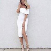 HIGH QUALITY New Fashion 2016 Designer Dress Women S Slash Neck Off The Shoulder Side Slit