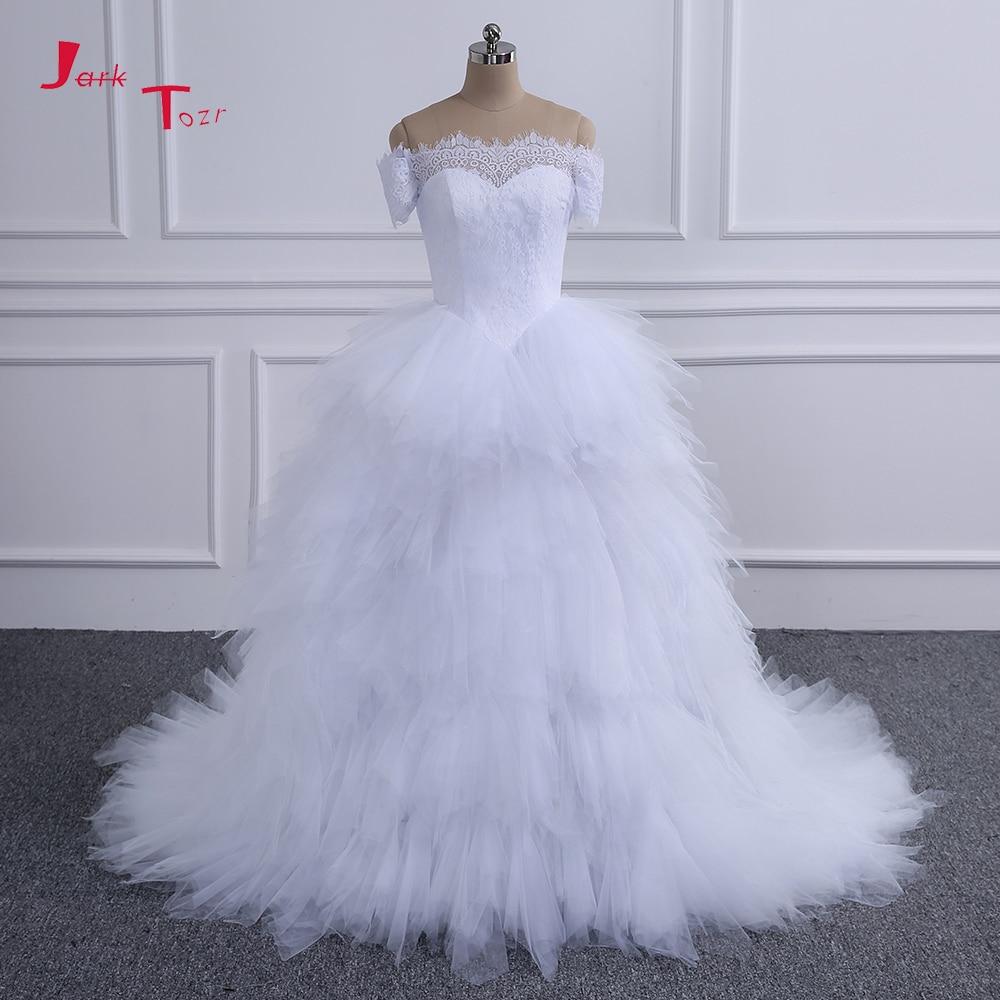 f648b2867d Jark Tozr Custom Made Robe De Mariee Pearls Crystal Bow Full Flowers  Princess Ball Gown Wedding Dresses With 1.5 Train 2019