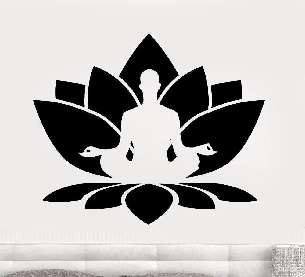 Meditation Wall Decal Yoga Room Vinyl Wall Stickers Lotus Flower