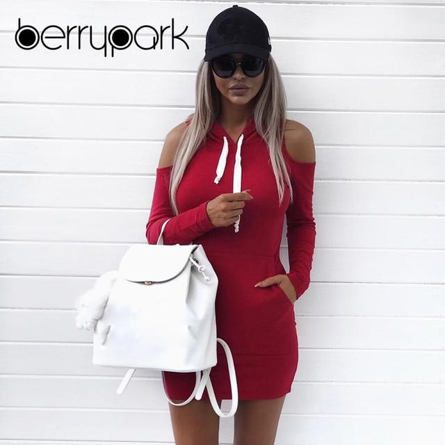 efe4aac6d2 BerryPark deporte Sudadera con capucha bolsillo ropa deportiva 2019 mujeres  de manga larga fuera del hombro
