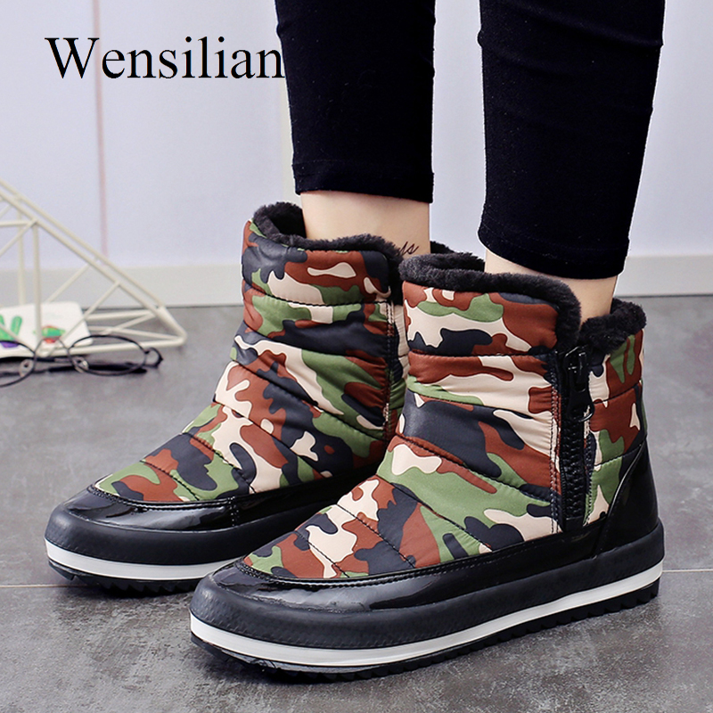 Winter Boots Ankle Boots for Women Waterproof Platform Shoes Camouflage Snow Bota Feminina Ladies Casual Shoes Black Botas Mujer womens winter shoes ankle boots women bota feminina botas mujer botines mujer 2017 ladies platform wedge boots botas de neve
