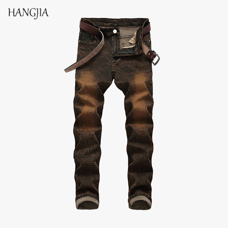 [HANGJIA] Distressed  Washed Colored Jeans Men's Fashion Casual High Stretch Slim Denim Trousers Youth Trend Hip Hop Jean