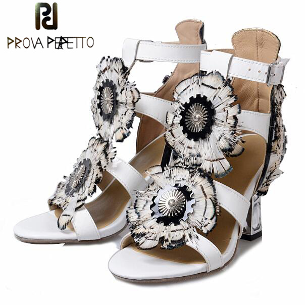 Prova Perfetto Rome Style Buckle Strap Peep Toe Cover Heel Women Sandals Sweet Crystal Heels Floral Feather Mixed Color Shoe цена 2017