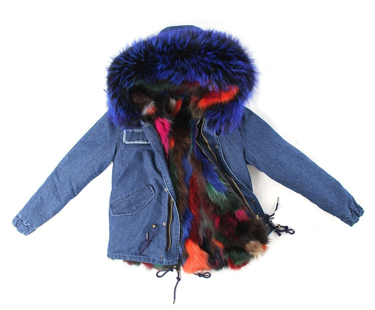 winter jacket coat women 2016 natural real Large raccoon fur collar hooded denim women parkas outwear detachable rabbit lining plus size 2017 women outwear long camouflage winter jacket thick parkas raccoon natural real fur collar coat hooded pelliccia