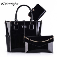 ICeinnight 3 Set Composite Bag Female High Quality PU Leather Patent Women Handbag Fashion Solid Black