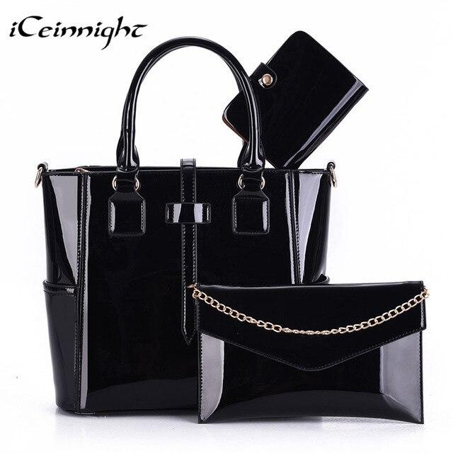 Iceinnight 3 компл. композитных сумки женские высокое качество pu лакированной кожи сумки женщин мода твердые черный посланник bolsa feminina