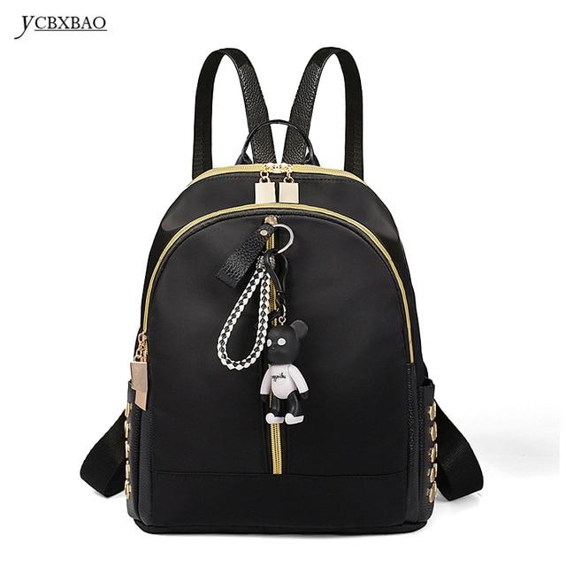 YCBXBAO Rivet Travel Backpack with Bear Korean Women Female Rucksack  Leisure Student School Bag Soft PU Leather Women Cheap Bag d5219c44e8