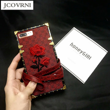 JCOVRNI Soft TPU + leather for iPhone 7plus mobile phone back cover case for iPhone6 6 plus 7 embroidery lanyard  phone case bag