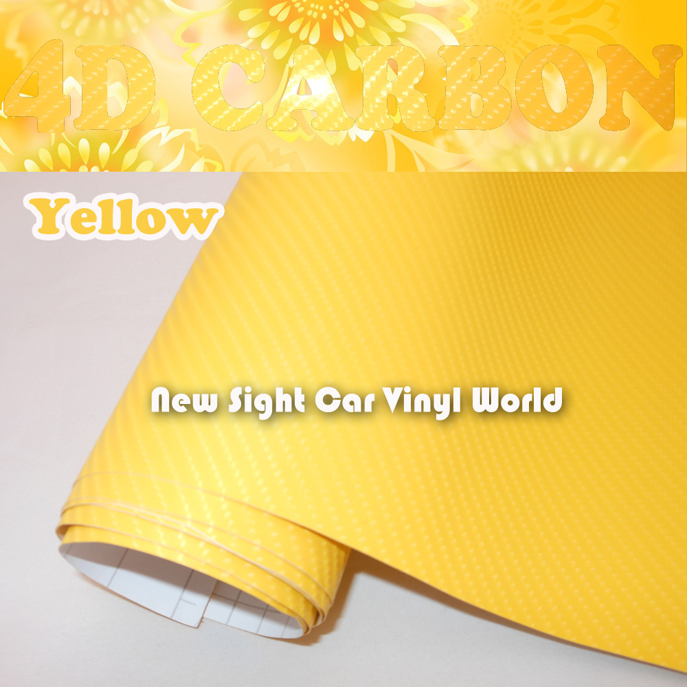 High Quality Yellow 4D Carbon Fiber Vinyl Air Free For Car Wrap Size: 1.52*30m/Roll