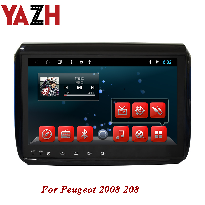 YAZH 1 din head unit For <font><b>Peugeot</b></font> 2008 <font><b>208</b></font> In-Dash <font><b>Android</b></font> Car Stereo GPS/Glonass Navigation 9.0 inch full HD IPS auto radio 32GB image