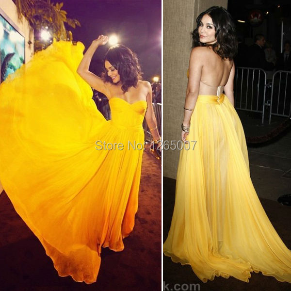 26ff6f3876ad Vanessa Hudgens Sweetheart Ruffles Pleated Open Back Yellow Long Backless Celebrity  Dress Special Occasion Dress Summer