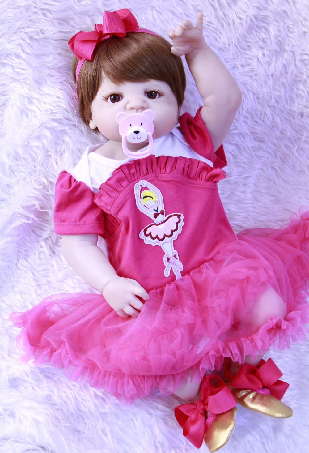 57CM Full Silicone Body Reborn Baby Doll Toy Newborn adorable menina vivid Doll Realistic Bebe Kid Brinquedos Bathe Toy for sale57CM Full Silicone Body Reborn Baby Doll Toy Newborn adorable menina vivid Doll Realistic Bebe Kid Brinquedos Bathe Toy for sale
