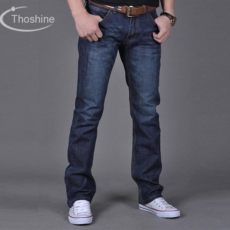 Thoshine бренд 2017 Весна, лето, осень Для мужчин тонкий Джинсы для женщин мужской Повседневное джинсовые прямые Брюки для девочек взрослых длинные брюки плюс Размеры