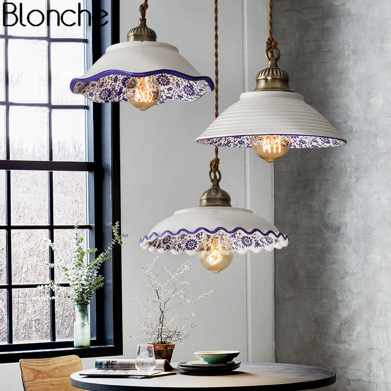 Chinese Style Ceramic Pendant Lights Vintage Led Retro Porcelain Hanging Lamp For Home Loft Decor Kitchen Lighting Fixtures E27