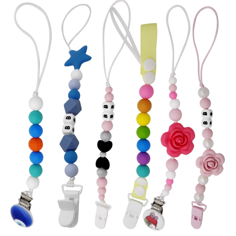 Newborn Baby Silicone Teething Pacifier Clips With Safe ABS Beads Pacifier Chain Holder For Nipples Baby Chew Toys High Quality