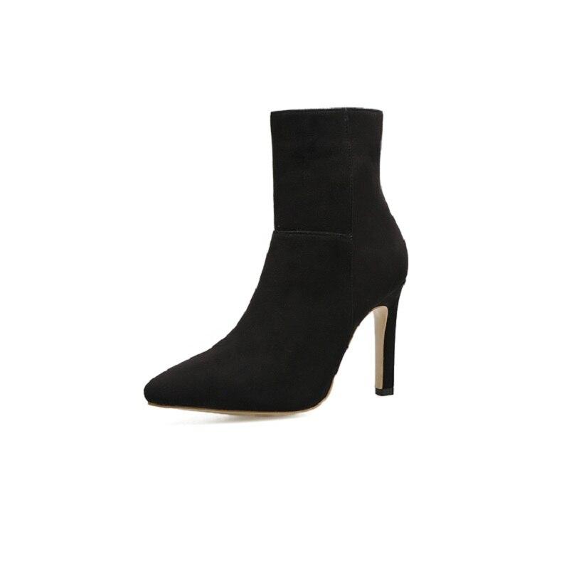 2019 Herbst Neue Stiefel Außenhandel Modelle Plus Samt Verdickung Samt Wies Stiletto Frauen Booties Schwarz Ljj 0104
