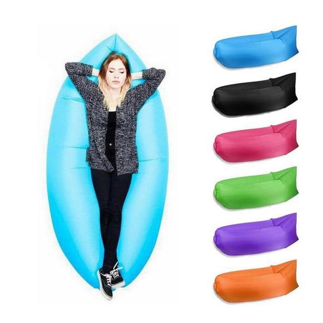 Lounge Sleep Bag Lazy Inflatable Beanbag Sofa Chair, Living Room Bean Bag Cushion, Outdoor Self Inflated Beanbag Furniture
