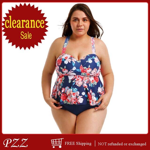 4e40064cd Women Swimwear Plus Size Halter Swimsuit Two Piece Tankini With Shorts Swim  Dress Bathing Suits Cover Ups Large Size Beachwear