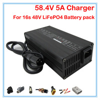 Wholesale 5pcs/lot 360W 48V 5A charger 48V LiFePO4 Battery Charger 16S 58.4V 5A Charger XLRM Port Use for 48V LiFePO4 battery