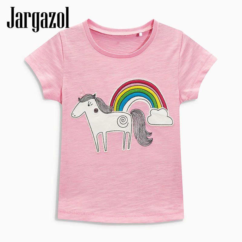 Jargazol Kids Clothes TShirt Baby Girl Clothing 2018 Summer top Short Sleeve Cotton Casual T shirt Unicorn Party Patch Pink Tees