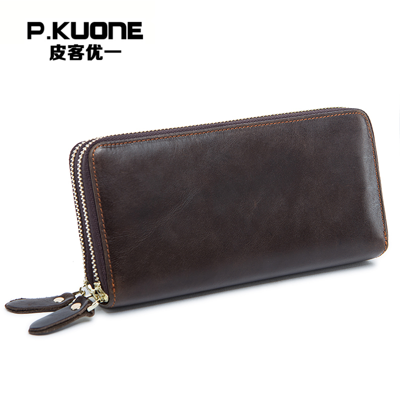 P.KUONE Genuine Leather Business Men Clutch Bag Famous Luxury Brand Wallet High Quality Big Capacity Male Double Zipper Purse high quality authentic famous polo golf double clothing bag men travel golf shoes bag custom handbag large capacity45 26 34 cm
