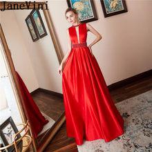 40596c986574 JaneVini 2019 Vermelho Vestidos de Baile Elegante Longo de Cetim Frisado  Vestidos de Noite Sexy Mulheres