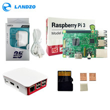 Une Framboise Pi 3 Starter Kit-pi 3 conseil/Original cas Officiel/Américain standard alimentation/16G carte mémoire/logo dissipateur de chaleur